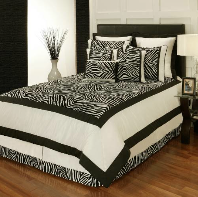 Sherry Kline Zebra Print Black/White 8-Piece King Comforter Set